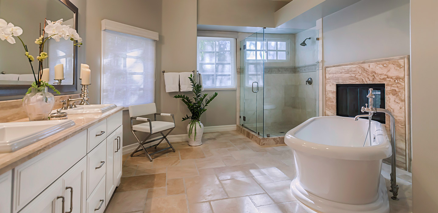beautiful redesigned master bathroom