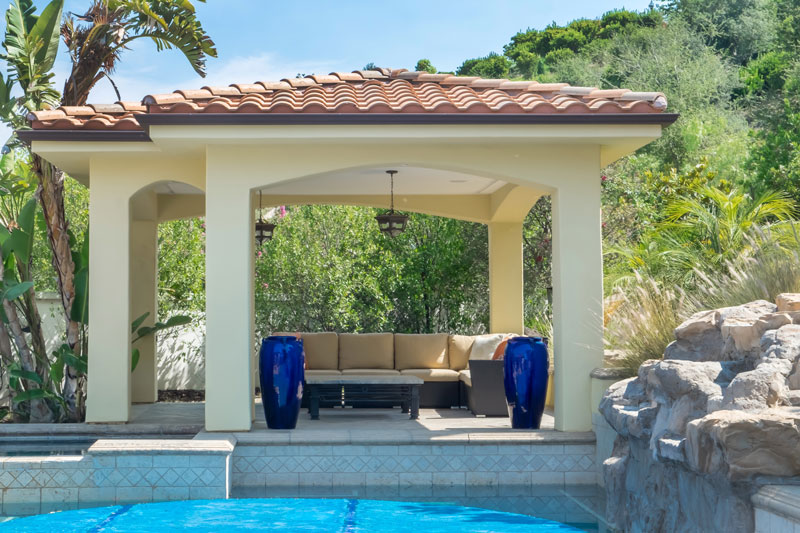 Pool house patio design