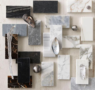 idea board with marble samples